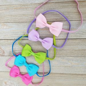 Other - 5 BABY GIRL HEADBANDS PASTEL COLORS SIZE 9MO-3T